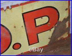 R. O. P Motor oil enamel sign early advertising decor mancave garage metal vintage