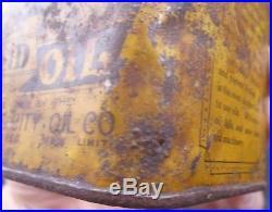 RARE 1920's VINTAGE BUFFALO SOLID OIL CAN (PRAIRIE CITY OIL CO, WINNIPEG, MAN.)