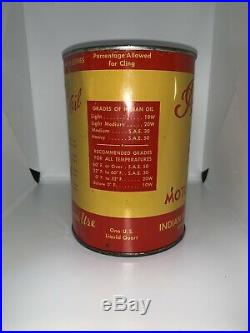 RARE 40s VINTAGE INDIAN MOTORCYCLE OIL CAN SAE 50 GREAT GRAPHICS