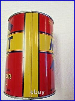 RARE FULL Very Nice 1950s Vintage MERIT MOTOR OIL Old 1 qt Tin Can Unopened