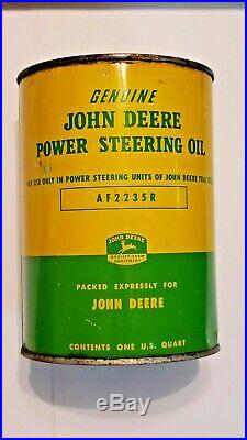 RARE! John Deere FULL Power Steering Oil Can Farm Gas Tractor Old Vintage 1950s