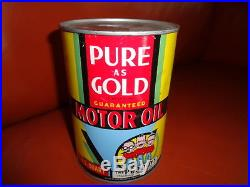 RARE PURE AS GOLD PEP BOYS Motor Oil Quart STEEL Can Original Vintage