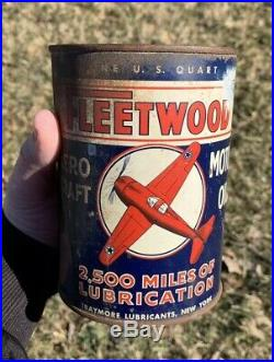 RARE VINTAGE Fleetwood Motor Oil Quart Oil Can New York