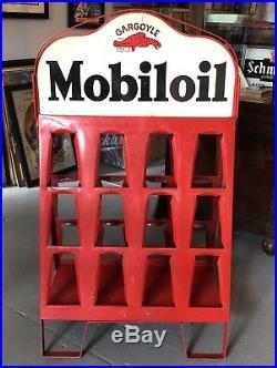 RARE Vintage 30s Gargoyle MOBILOIL Gas Station Oil Can Metal Rack Display Sign