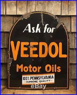 RARE Vintage 30s VEEDOL Motor Oil 2 Sided Tombstone Porcelain Sign