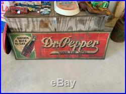 RARE Vintage Dr. Pepper Metal 10-2-4 Sign GAS STATION OIL SODA COLA