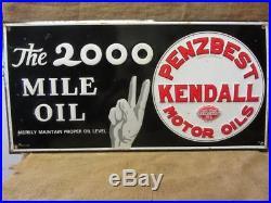 RARE Vintage Embossed Kendall Motor Oil Sign Antique 2,000 Gas Station 9821