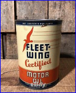 RARE Vintage FLEET WING 1Qt Motor Oil Gas Service Station NOS Can