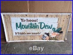 RARE Vintage ORIGINAL Mountain Dew Metal Sign Willy Hillbilly GAS OIL SODA COLA