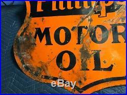 RARE Vintage ORIGINAL PHILLIPS MOTOR OIL 66 Sign PORCELAIN OLD Gas Advertising