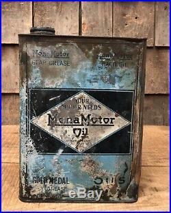 RARE Vintage Original MONA MOTOR OIL Monarch 1 Gallon Slim Oil Can Auto Graphics