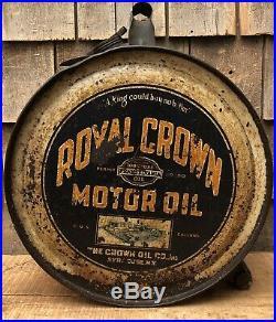 RARE Vintage ROYAL CROWN Motor Oil Gas Service Station Rocker Can