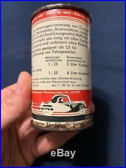 Rare 1930s Vintage Gargoyle Zwo-ta-mix Old German Motorcycle & Car Oil Can