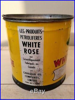 Rare Antique White Rose 5 Pound Grease Tin Can, Oil Gas sign Vintage Cans Old