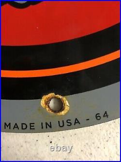 Rare Old Vintage 1964 Porcelain Sign Harley Davidson Plug Gas Pump Oil Pinup Nos