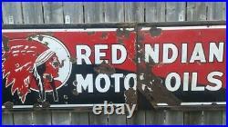 Rare Original Vintage 1930's Red Indian Motor Oils porcelain sign Large 6 Ft