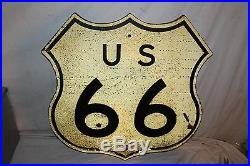 Rare Original Vintage 1940's US Route 66 Highway Gas Oil 24 Wood Road Sign
