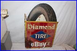 Rare Vintage 1920's Diamond Tire Service Gas Oil 2 Side 28 Metal Flange Sign