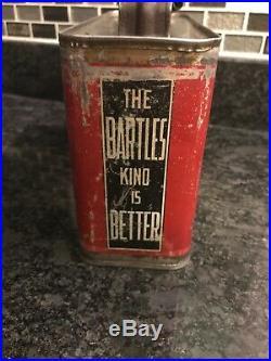 Rare Vintage Bartles Mobilene Brand Pennsylvania Automobile Oil Can W Spout