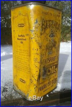 Rare Vintage Buffalo Prairie city oil can