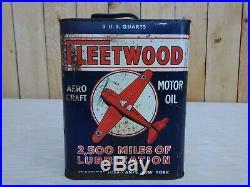 Rare Vintage Fleetwood 2 Gallon 8 Quarts Aero Craft Motor Oil Metal Can