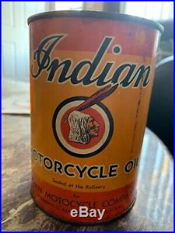 Rare Vintage Original Early Version Indian Motorcycle Oil Quart Tin (Never Open)