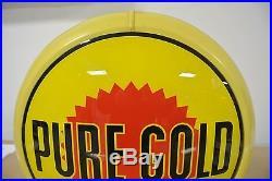 Rare Vintage Original Pennsylvania Oil Co Pure Gold Gasoline Gas Pump Globe NR