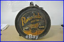 Rare Vintage Original Powerlube Motor Oil Rocker Can No Reserve