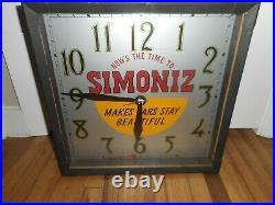 Rare Vintage Simoniz Auto Automobile Polish Gas Station Oil Advertising Clock
