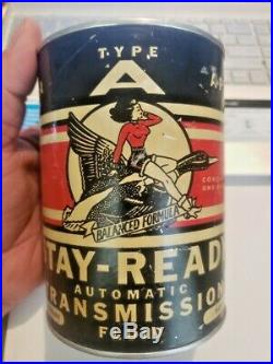 Rare Vintage Stay Ready Automatic Transmission Fluid ATF Quart Oil Can