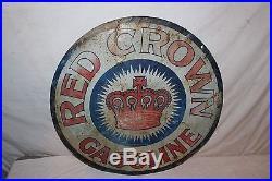 Rare Vintage c. 1920 Standard Oil Red Crown Gasoline 24 Embossed Metal Sign