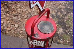 Rare Vintage c. 1950 Conoco Motor Oil Can Gas Station Display With2 Porcelain Sign