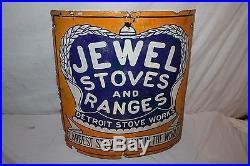 Rare Vintage c1920 Jewel Stoves & Ranges Gas Oil 20 Curved Porcelain Metal Sign