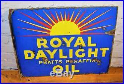 Royal daylight lamp oil pratts enamel sign mancave garage metal vintage retro
