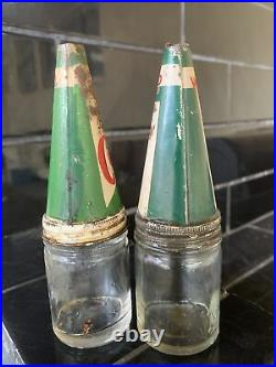 SET OF 2 X CASTROLLO WAKEFIELD CASTROL UCL Scarce Vintage Oil Bottles & Tin Tops