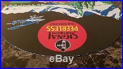 Signal Peerless Gasoline 11 5/8 Metal Vintage Gas & Oil Sign Pump Plate Lubster