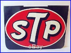STP Sign Old Vintage Race Car Motor Oil Embossed Metal Gas Station 60s Original