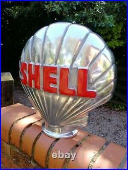 Shell Petrol Pump Globe Aluminium Shell 1/2 Globe Oil Petrol Vintage Garage oil