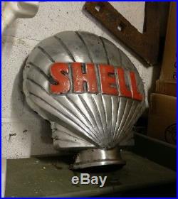 Shell Petrol Pump Globe Aluminium Shell Globe Oil Petrol Vintage Garage VAC