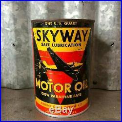 Skyway Motor Oil Quart Can Metal Lubbock TX Vintage