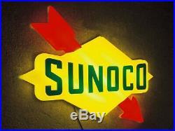 Sunoco Light Box Led Wall Sign Garage Petrol Gasoline Car Vintage Gas & Oil