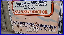 That Good GULF Gasoline Porcelain Gas Oil Service Petro Auto Pittsburgh Vintage