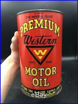 ULTRA RARE 1950's VINTAGE WESTERN TIRE PREMIUM MOTOR OIL IMPERIAL QUART CAN