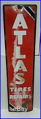 VINTAGE 1930s GAS OIL ADVERTISING ATLAS TIRE VERTICAL PORCELAIN SIGN 60