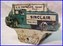 VINTAGE 1930s SINCLAIR OIL GASOLINE TAG TOPPER SIGN LICENSE PLATE WAHOO NEBRASKA