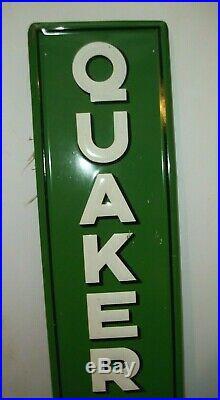 VINTAGE 1947s QUAKER STATE MOTOR OIL ADVERTISING SIGN 71 1/2 x 11 1/2