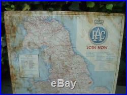VINTAGE 1950s RAC UK ROAD MAP SIGN not ENAMEL AUTOMOBILIA CLASSIC CAR MOTOR OIL