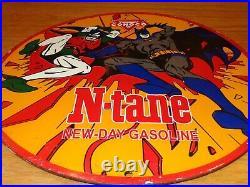 VINTAGE 1966 CONOCO GASOLINE With BATMAN & ROBIN 11 3/4 PORCELAIN METAL OIL SIGN