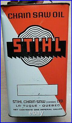 VINTAGE ADVERTISING STIHL Chain Saw MOTOR OIL METAL CAN ONE IMPERIAL GALLON