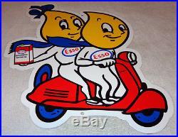 Vintage Esso Oil Drop Boy & Girl Riding A Vespa Scooter 20 X 16 Porcelain Sign